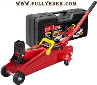 Arabalı Hidrolik 1,5 Tonluk Kriko Kırmızı Tekerlekli Profesyonel Kriko